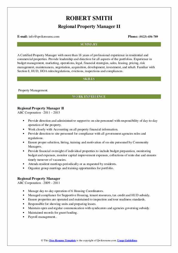 Regional Property Manager II Resume Template