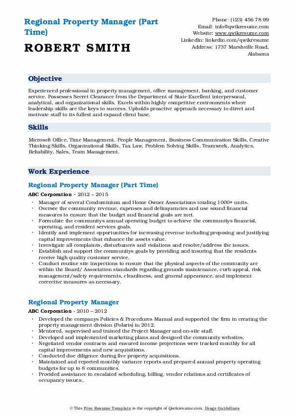 Regional Property Manager (Part Time) Resume Template