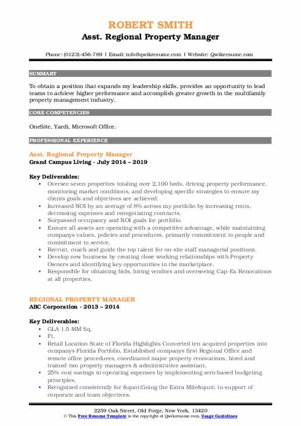 Asst. Regional Property Manager Resume Model
