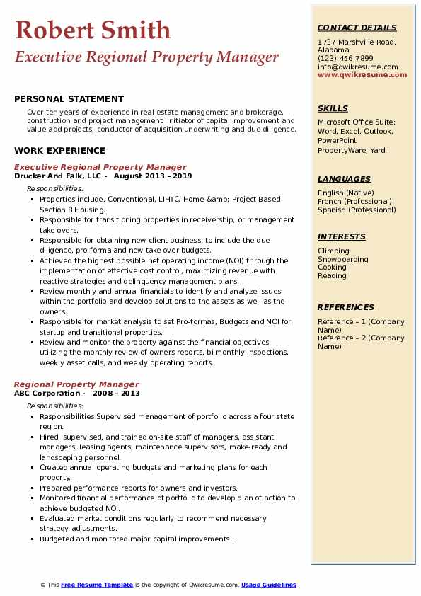 Executive Regional Property Manager Resume Model