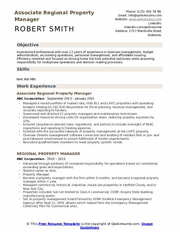 Associate Regional Property Manager Resume Model