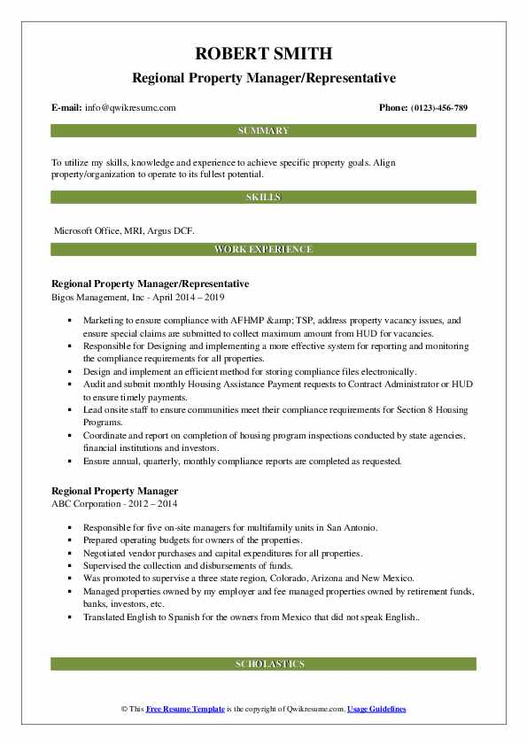 Regional Property Manager/Representative Resume Model
