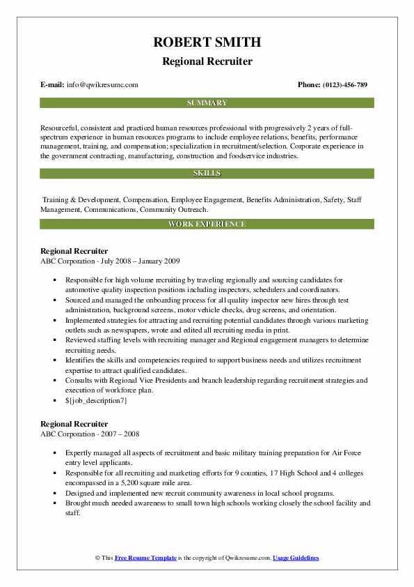 Regional Recruiter Resume example