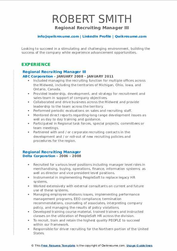 regional recruiting manager resume samples
