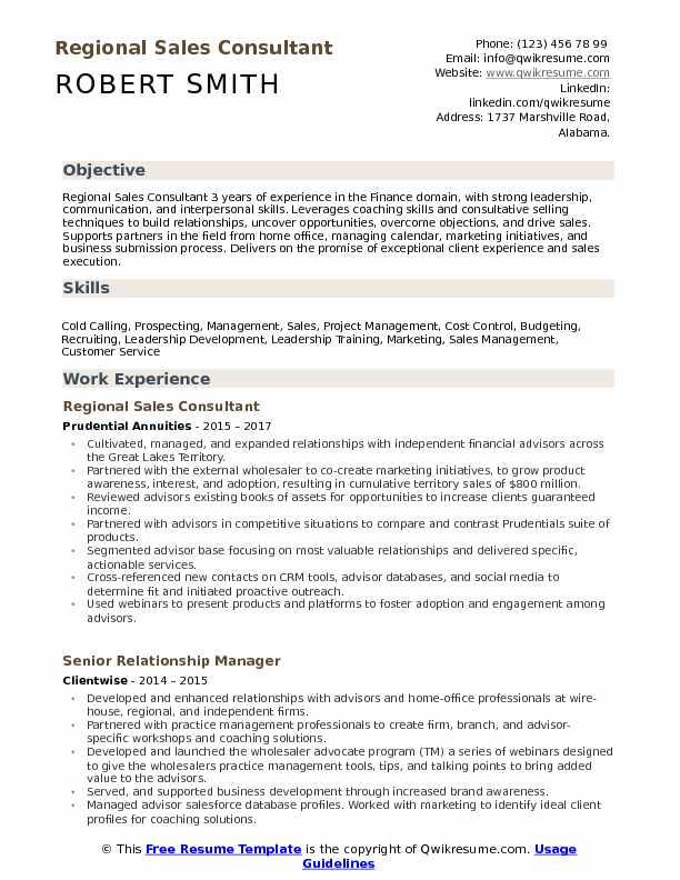 Regional Sales Consultant Resume Sample