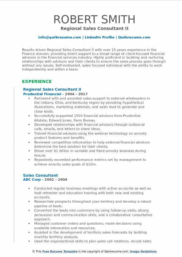 Regional Sales Consultant II Resume Model