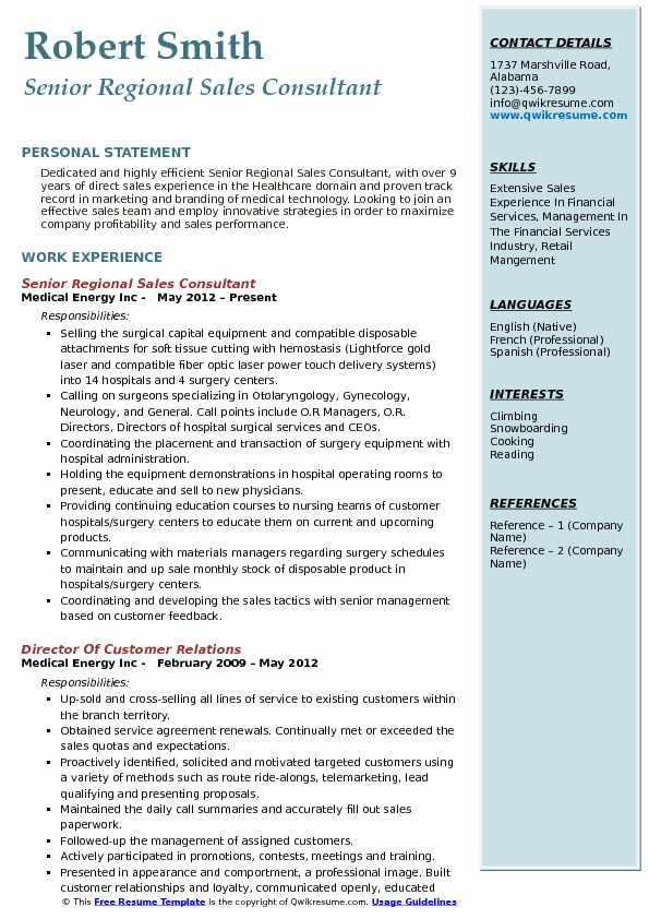Senior Regional Sales Consultant Resume Sample