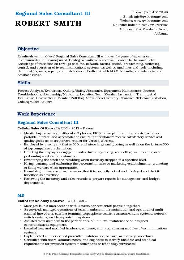 Regional Sales Consultant III Resume Sample