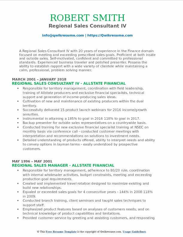 Regional Sales Consultant IV Resume Example