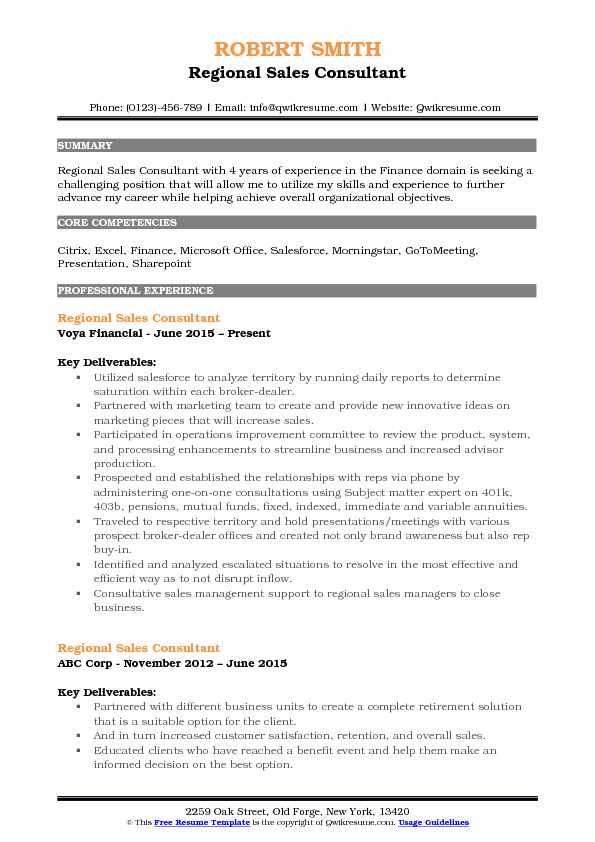 Regional Sales Consultant Resume Example