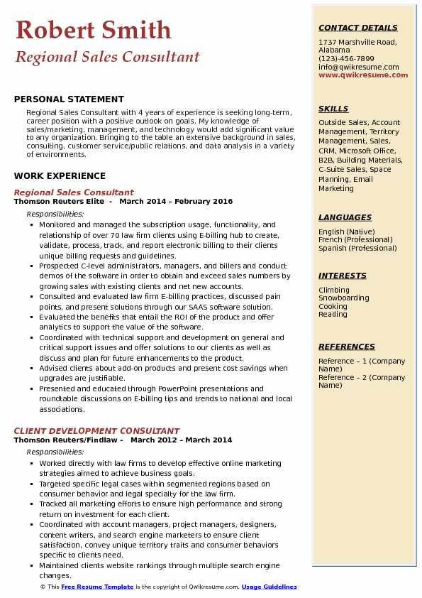 Regional Sales Consultant Resume Model