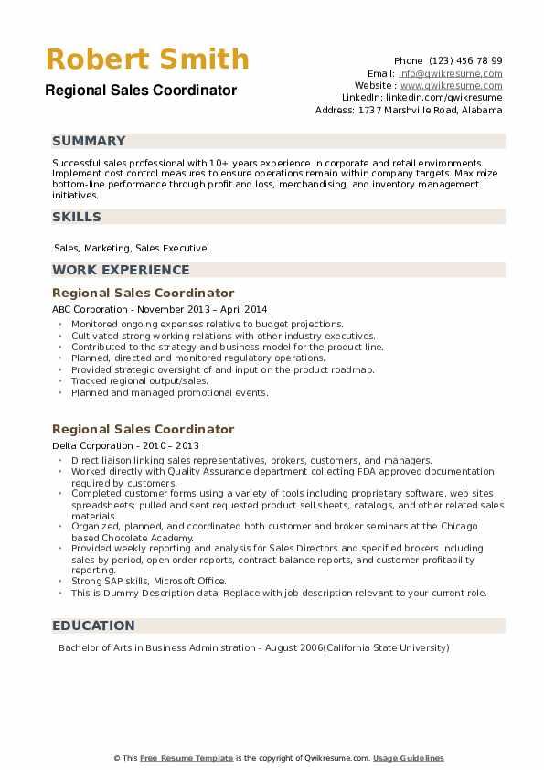 Regional Sales Coordinator Resume example