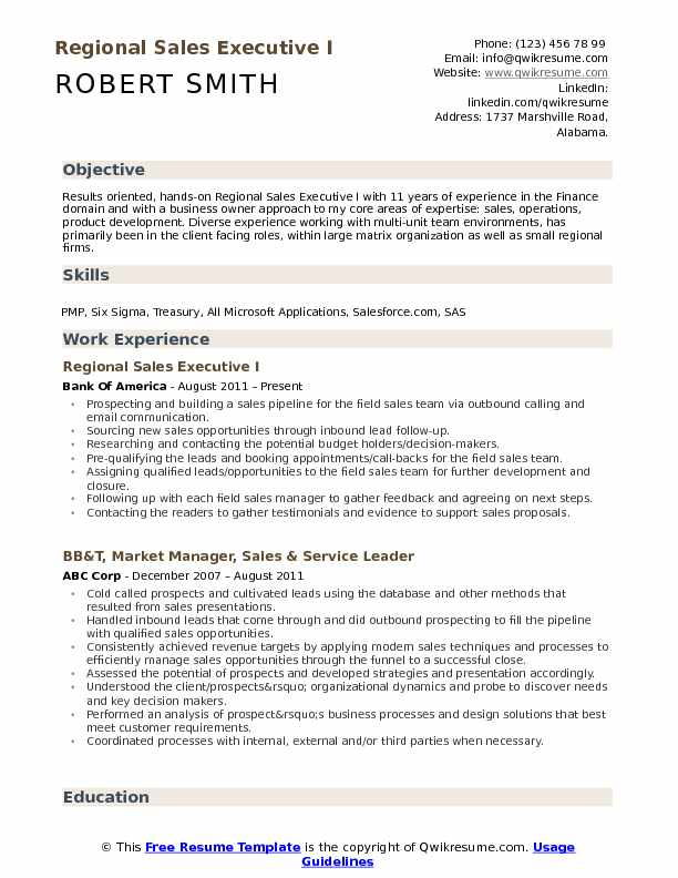 Regional Sales Executive I Resume Model