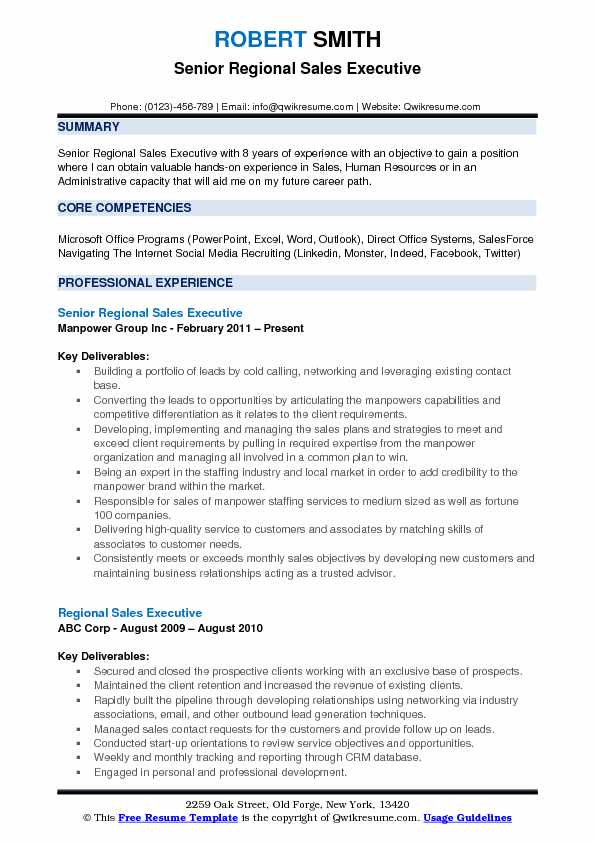 Senior Regional Sales Executive Resume Sample