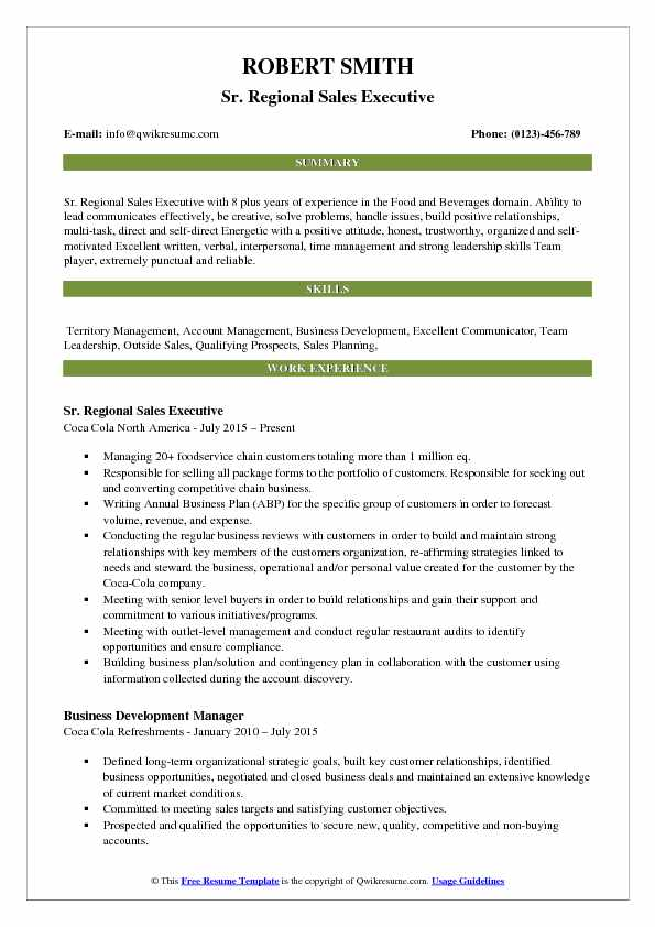 Sr. Regional Sales Executive Resume Example