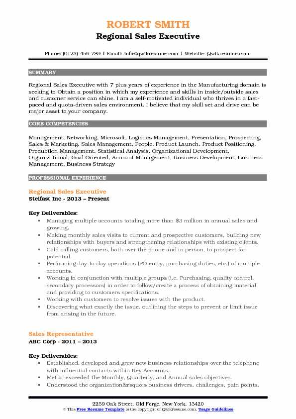 Regional Sales Executive Resume Sample