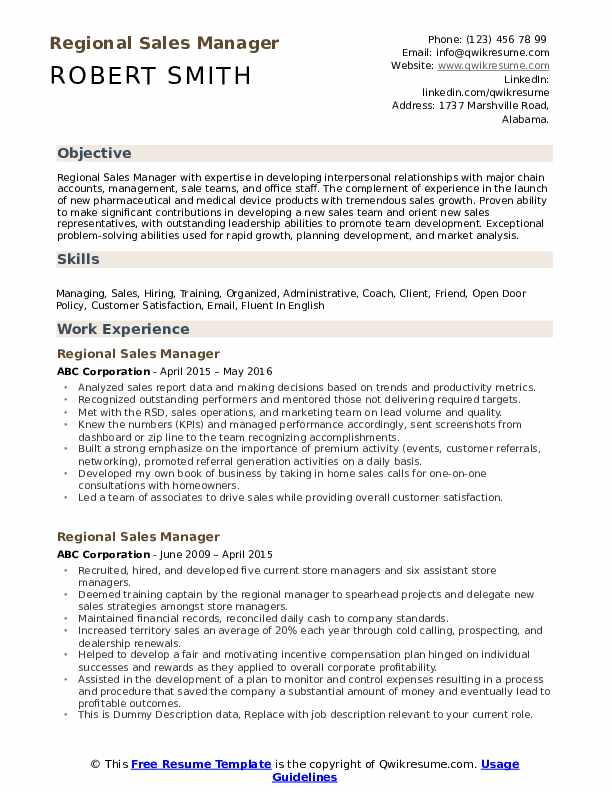 Regional Sales Manager Resume Sample