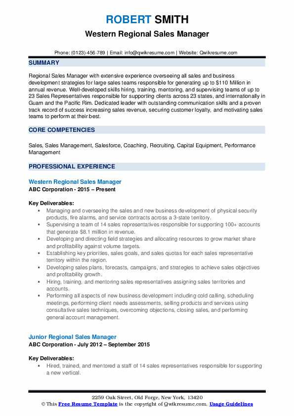 Western Regional Sales Manager Resume Template