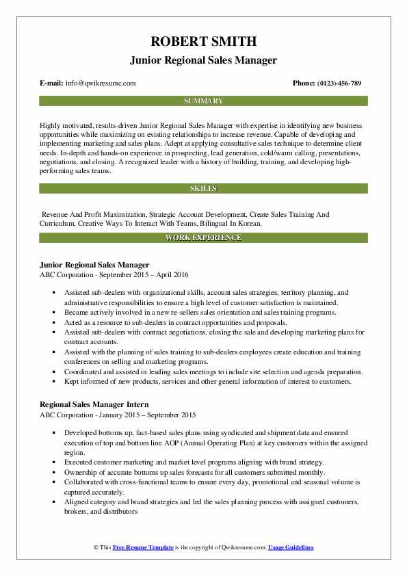 Junior Regional Sales Manager Resume Format