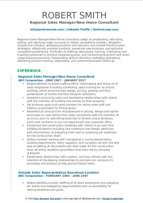 Regional Sales Manager/New Home Consultant Resume Model