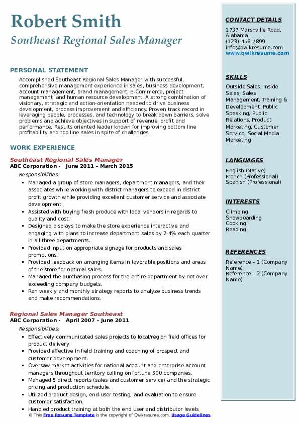 Southeast Regional Sales Manager Resume Sample