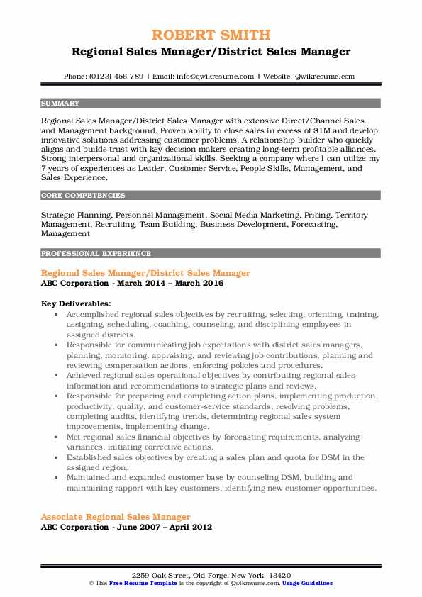 Regional Sales Manager/District Sales Manager Resume Template