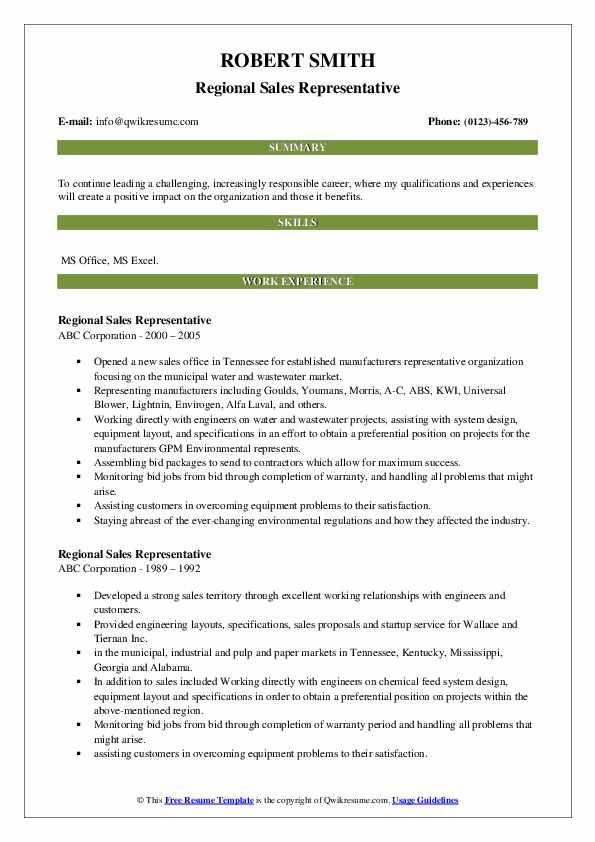 Regional Sales Representative Resume Format