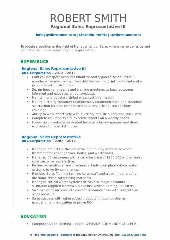 Regional Sales Representative III Resume Sample