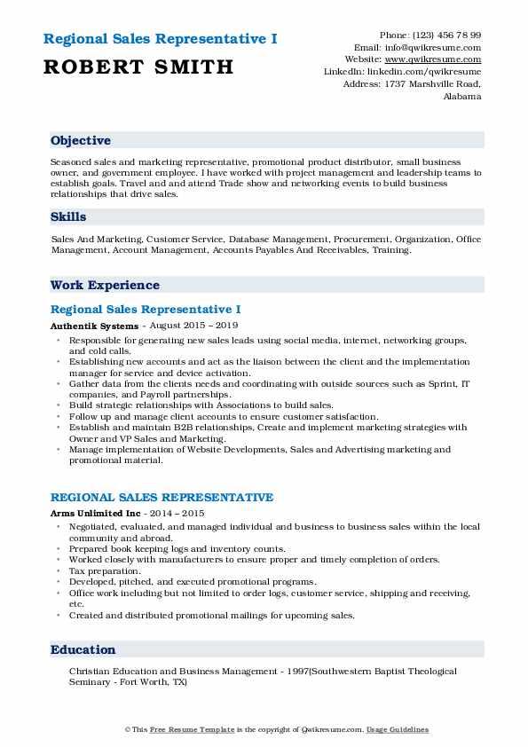 regional sales representative resume samples