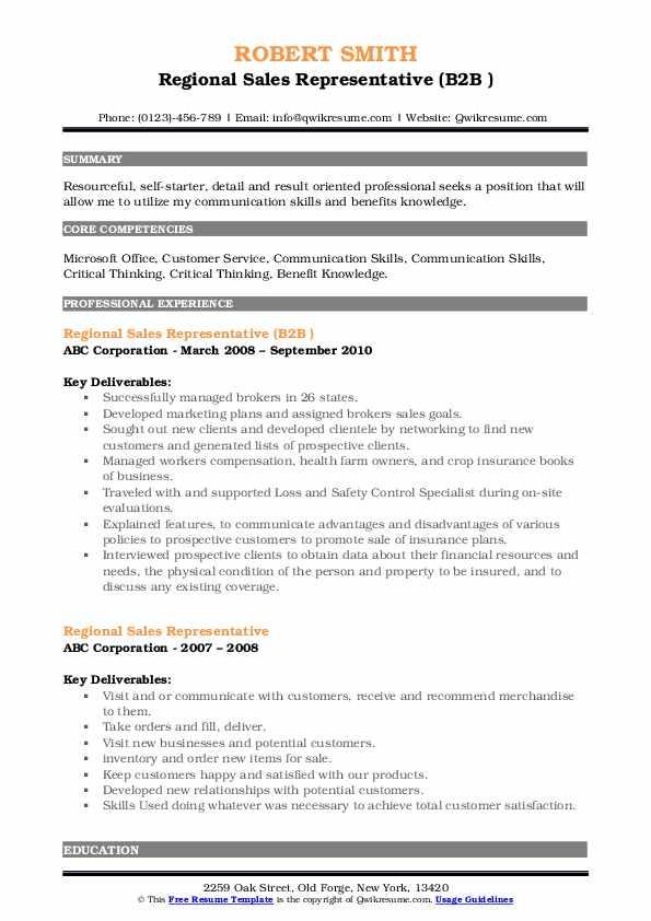 Regional Sales Representative (B2B ) Resume Format