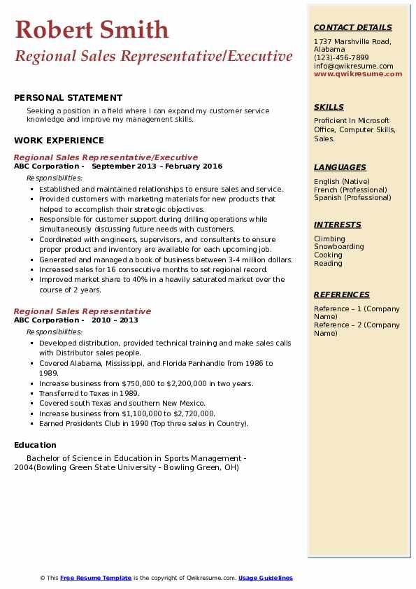 Regional Sales Representative/Executive Resume Sample