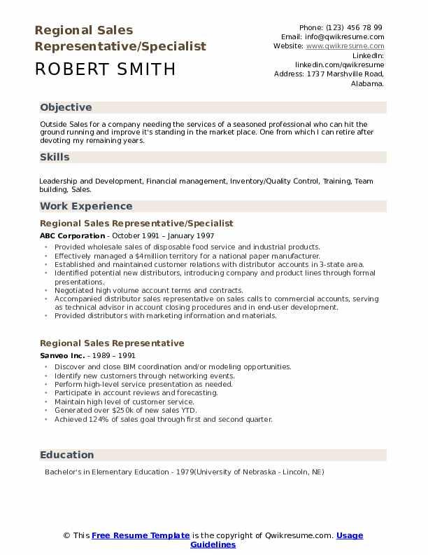 Regional Sales Representative/Specialist Resume Model
