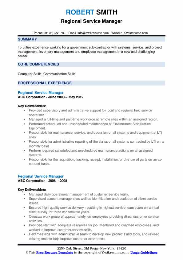 Regional Service Manager Resume example