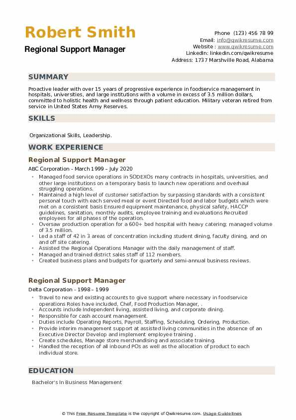 Regional Support Manager Resume example