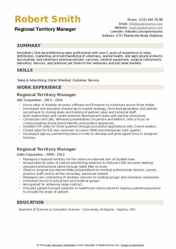 Regional Territory Manager Resume example