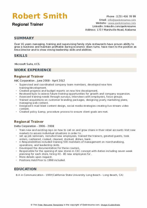 Regional Trainer Resume example