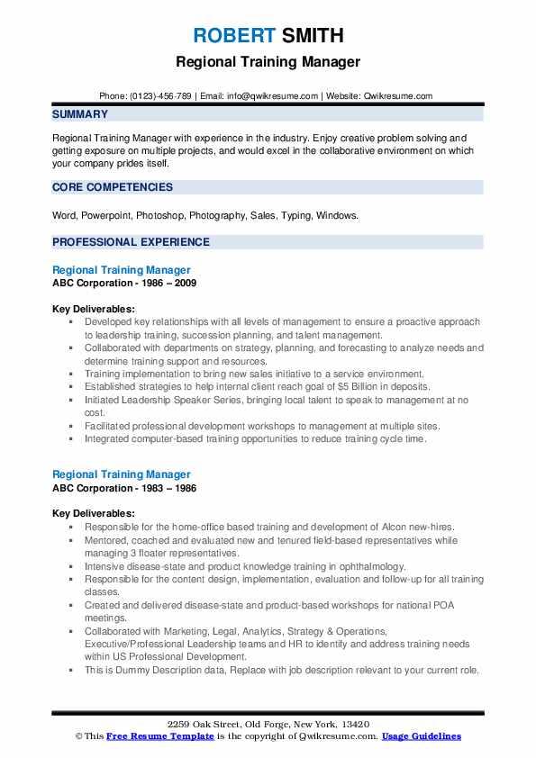 Regional Training Manager Resume example