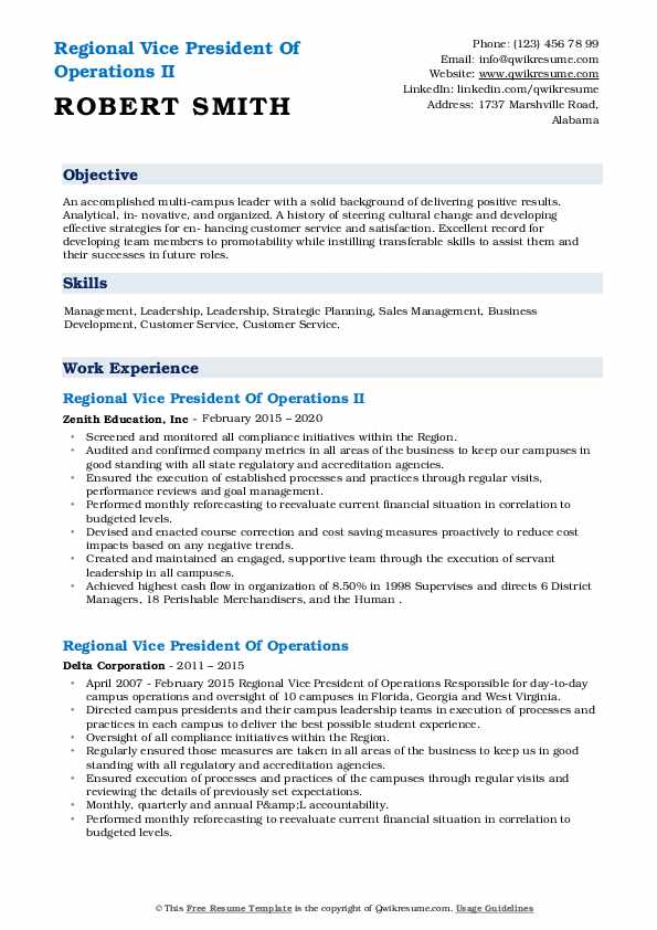 Regional Vice President Of Operations Resume example