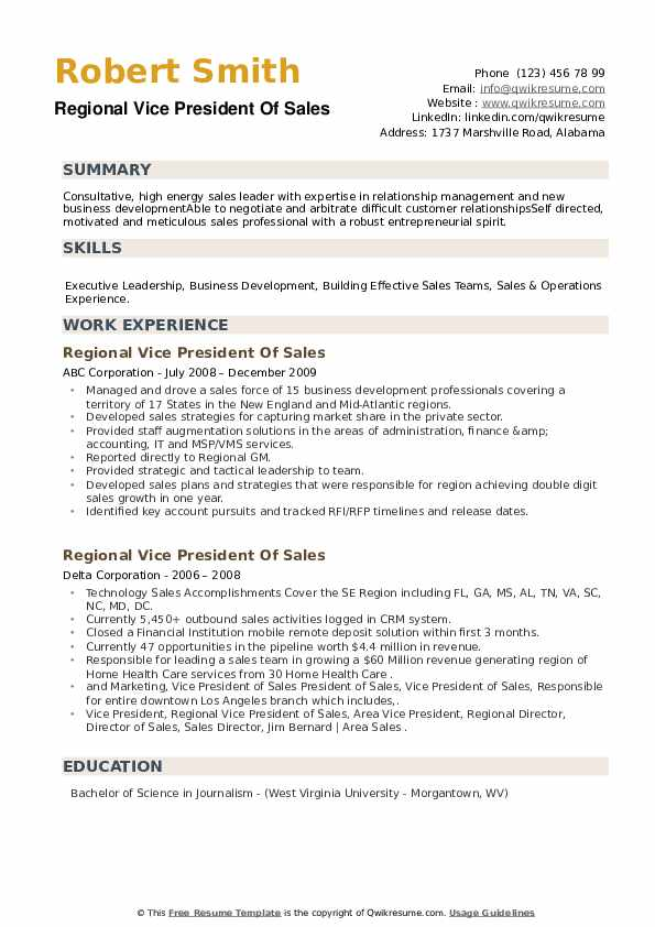 Regional Vice President Of Sales Resume example