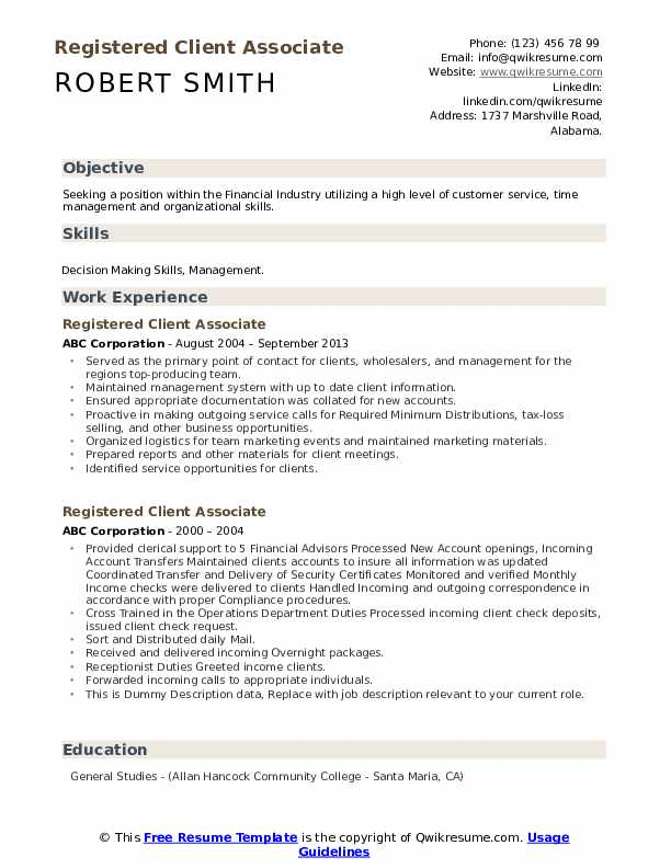 Registered Client Associate Resume example
