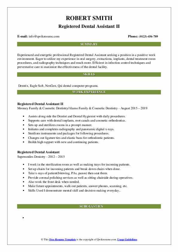 Registered Dental Assistant II Resume Model