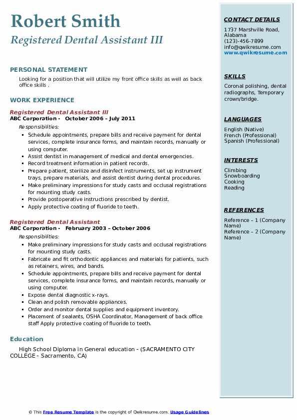 Registered Dental Assistant III Resume Sample