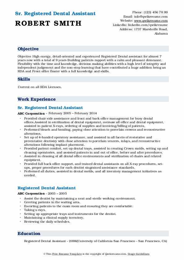 Registered Dental Assistant Resume Samples Qwikresume