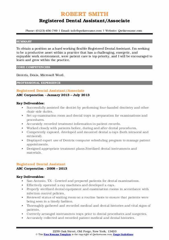Registered Dental Assistant/Associate Resume Sample