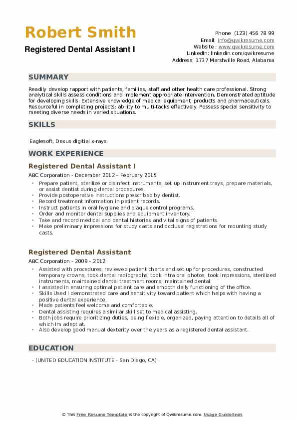 Registered Dental Assistant Resume Samples Qwikresume