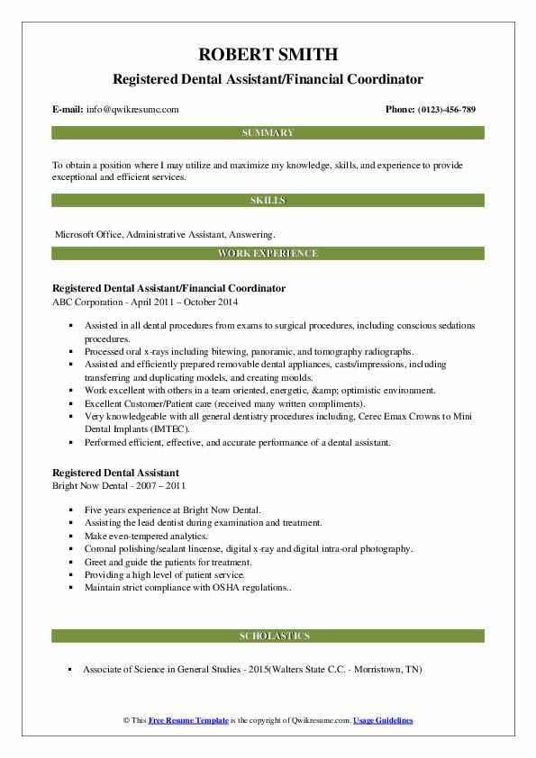 Oral Surgery Assistant/Co-ordinator Resume Format