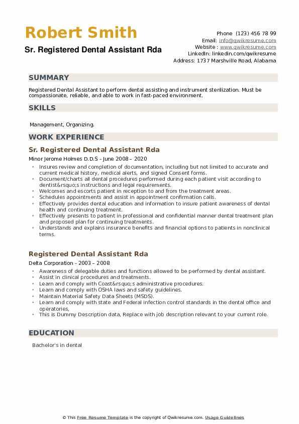 Registered Dental Assistant Rda Resume example