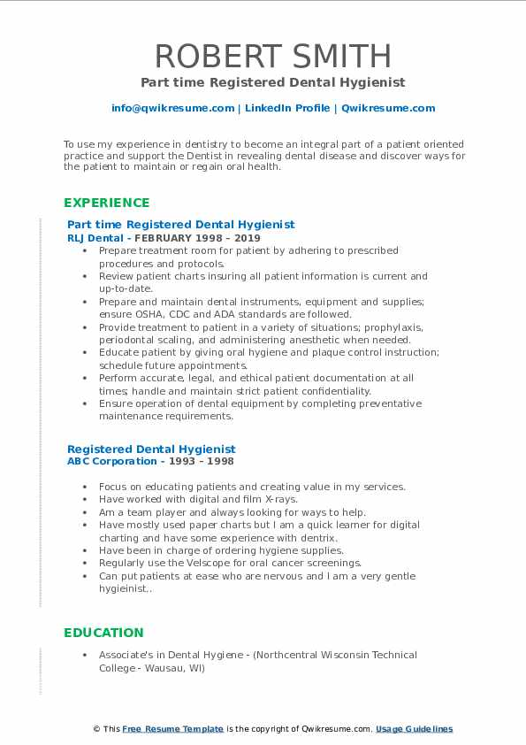 Registered Dental Hygienist Resume Samples Qwikresume