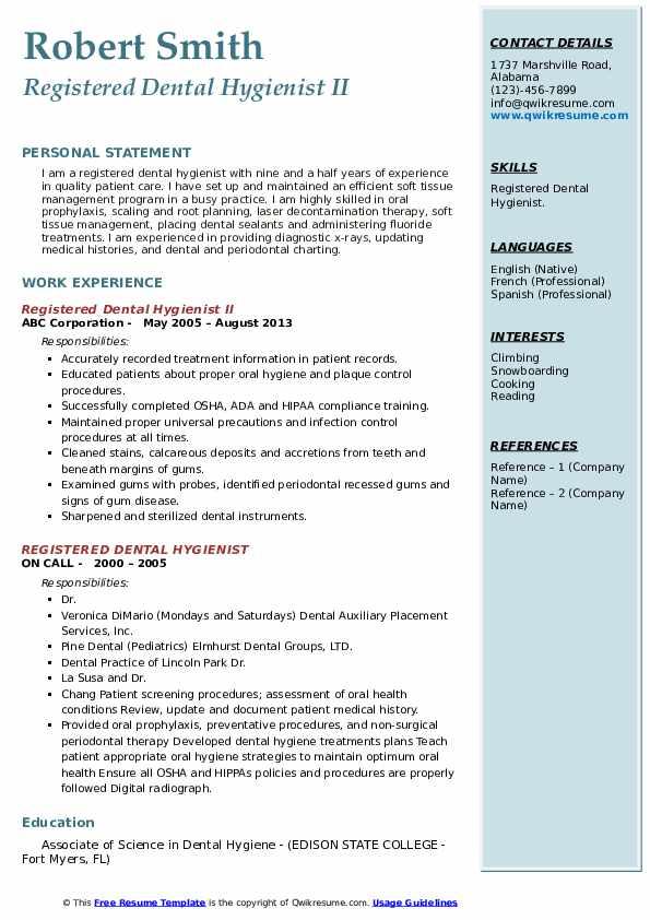 Registered Dental Hygienist II Resume Example