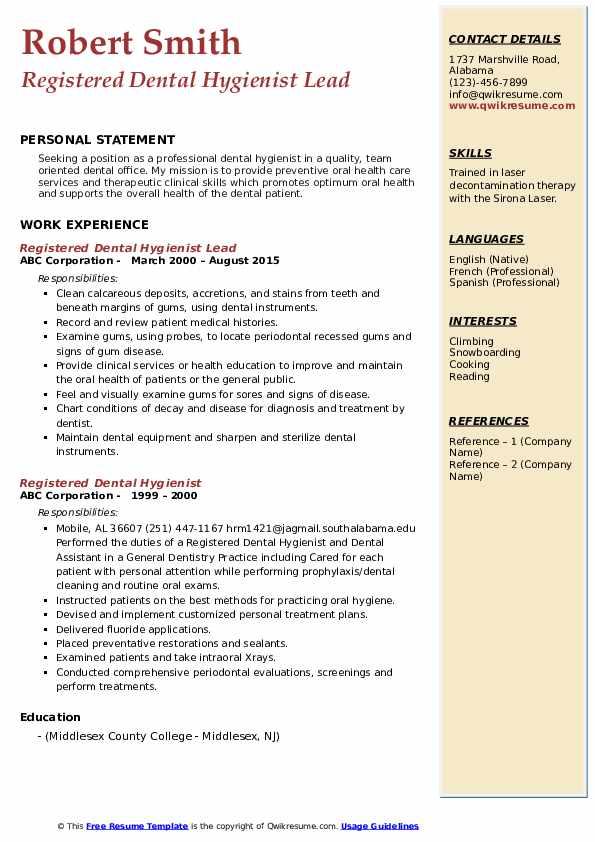 Registered Dental Hygienist Lead Resume Model